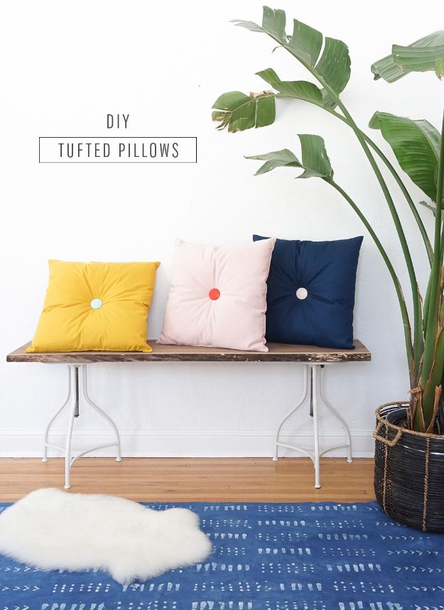 DIY Home Decor Projects for Beginners - Colorful DIY Tufted Pillows - Easy Homemade Decoration for Your House or Apartment - Creative Wall Art, Rugs, Furniture and Accessories for Kitchen - Quick and Cheap Ways to Decorate on A Budget - Farmhouse, Rustic, Modern, Boho and Minimalist Style With Step by Step Tutorials http://diyjoy.com/diy-home-decor-beginners