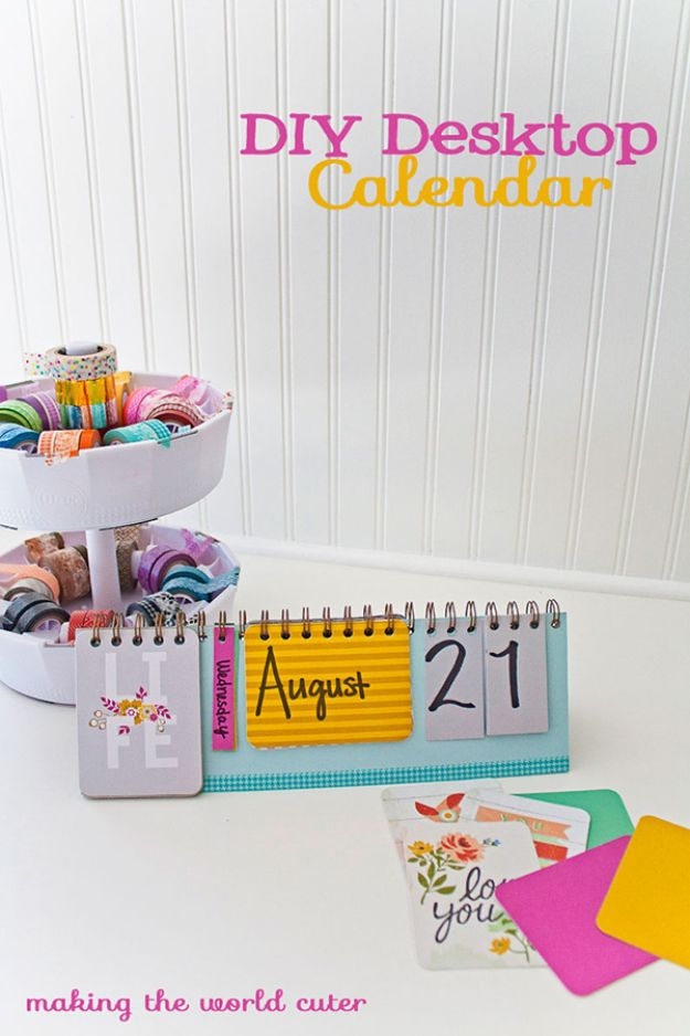 DIY Calendars - Colorful Desktop Calendar - Homemade Calender Ideas That Make Great Cheap Gifts for Christmas - Desk, Wall and Glass Dry Erase Organizing Calendar Projects With Step by Step Tutorials - Paint, Stamp, Magnetic, Family Planner and Organizer #diycalendar #diyideas #crafts #calendars #organizing #diygifts http://diyjoy.com/diy-calendars