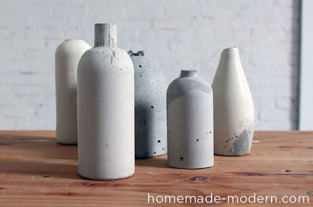 DIY Projects With Concrete - Concrete Vases - Easy Home Decor and Cheap Crafts Made With Cement - Ideas for DIY Christmas Gifts, Outdoor Decorations