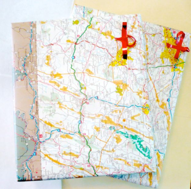 DIY Ideas With Maps - Cool Gift Wrap DIY - Easy Crafts, Home Decor, Art and Gifts Your Can Make With A Map - Pinboard, Canvas, Painting, Paper Flowers, Signs Projects