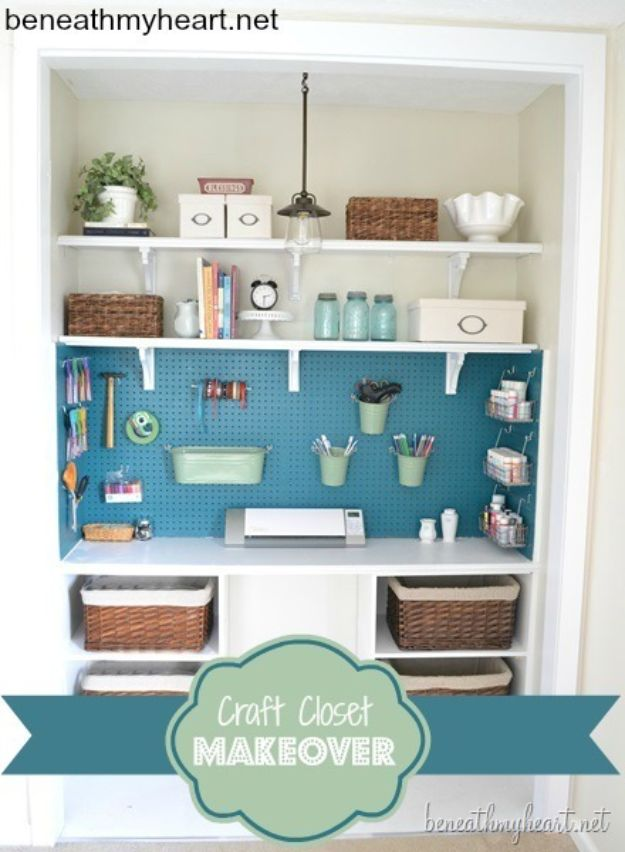 Craft Room Organization Ideas - Craft Closet Makeover - DIY Dollar Store Projects for Crafts - Budget Ways to Declutter While Organizing Supplies - Shelves, IKEA Hacks, Small Space Ideas