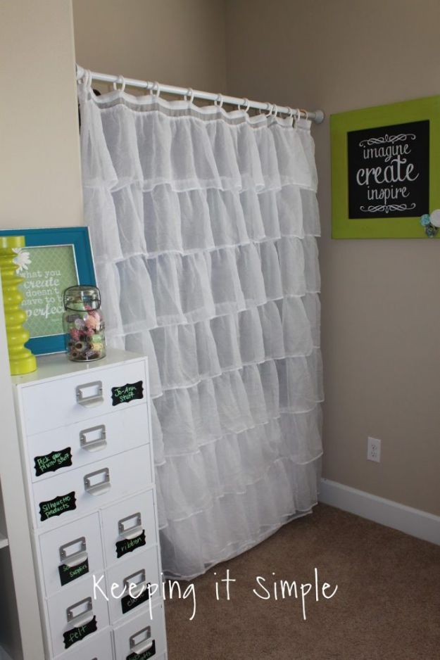 Craft Room Organization Ideas - Craft Room Curtain - DIY Dollar Store Projects for Crafts - Budget Ways to Declutter While Organizing Supplies - Shelves, IKEA Hacks, Small Space Ideas