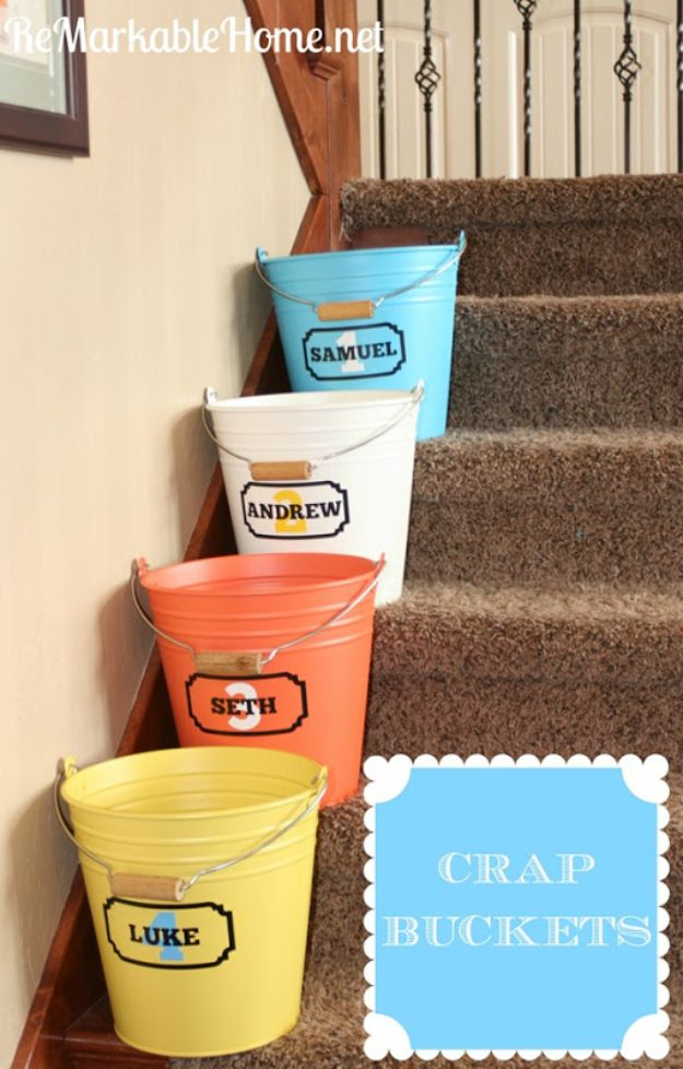 Dollar Store Organizing Ideas - Crap Buckets - Easy Organization Projects from Dollar Tree and Dollar Stores - Quick Closet Makeovers, Pantry Storage, Shoe Box Projects, Tension Rods, Car and Household Cleaning - Hacks and Tips for Organizing on a Budget - Cheap Idea for Reducing Clutter around the House, in the Kitchen and Bedroom http://diyjoy.com/dollar-store-organizing-ideas