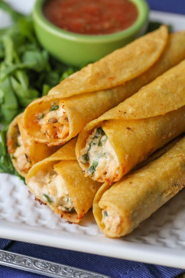Best Mexican Food Recipes - Cream Cheese And Chicken Taquitos - Authentic Mexican Foods and Recipe Ideas for Casseroles, Quesadillas, Tacos, Appetizers, Tamales, Enchiladas, Crockpot, Chicken, Beef and Healthy Foods - Desserts and Dessert Ideas Like Churros , Flan amd Sopapillas #recipes #mexicanfood #mexicanrecipes #recipeideas #mexicandishes http://diyjoy.com/mexican-food-recipes