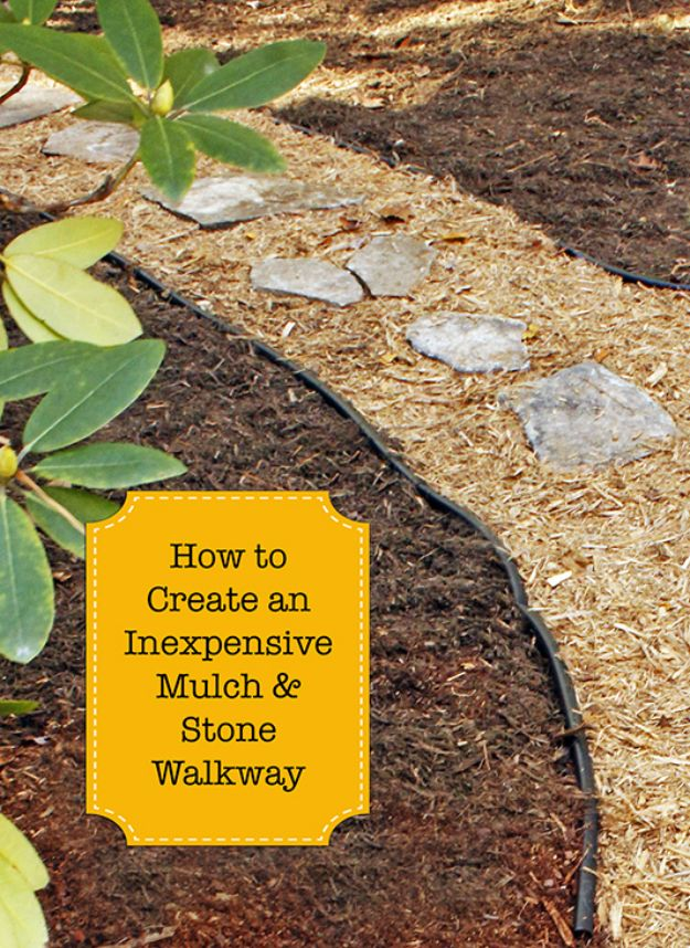 DIY Walkways - Create an Inexpensive Mulch and Stone Walkway - Do It Yourself Walkway Ideas for Paths to The Front Door and Backyard - Cheap and Easy Pavers and Concrete Path and Stepping Stones - Wood and Edging, Lights, Backyard and Patio Walks With Gravel, Sand, Dirt and Brick http://diyjoy.com/diy-walkways
