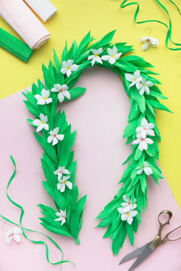 DIY Ideas With Faux Flowers - Crepe Paper Lei - Paper, Fabric, Silk and Plastic Flower Crafts - Easy Arrangements, Wedding Decorations, Wall, Decorations, Letters, Cheap Home Decor