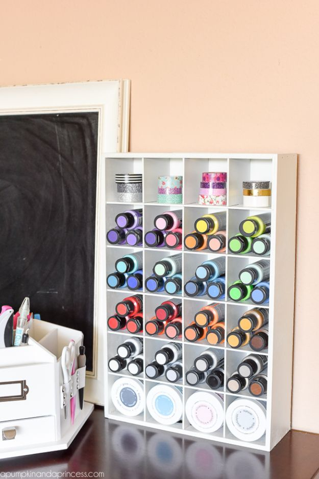 Craft Room Organization Ideas - Cubby Organizer - DIY Dollar Store Projects for Crafts - Budget Ways to Declutter While Organizing Supplies - Shelves, IKEA Hacks, Small Space Ideas