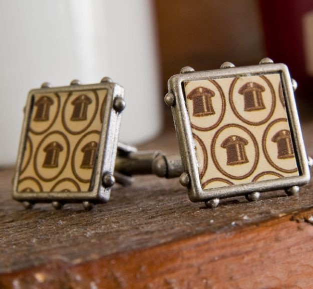 DIY Gifts for Men - Cuff Links - Homemade Gift Ideas for Guys - | Pinterest Crafts to Make For Guys | | DIY Stocking Stuffer Idea for Men | DYI Crafts Men Love to Get for Holidays, Birthday, Anniversary and Valentine's Day