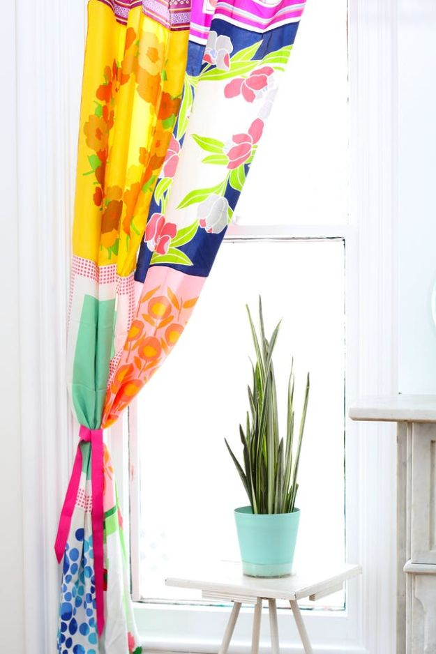 DIY Sewing Projects for the Home - Curtains From Vintage Scarves - Easy DIY Christmas Gifts and Ideas for Making Kitchen, Bedroom and Bathroom Decor - Free Step by Step Tutorial to Sew