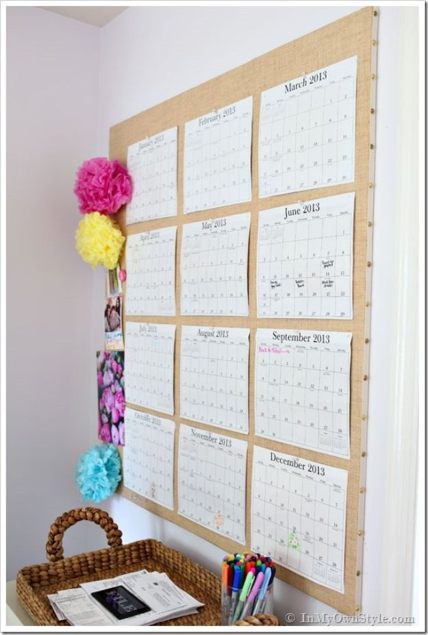 DIY Calendars - Custom Pin Board Calendar - Homemade Calender Ideas That Make Great Cheap Gifts for Christmas - Desk, Wall and Glass Dry Erase Organizing Calendar Projects With Step by Step Tutorials - Paint, Stamp, Magnetic, Family Planner and Organizer #diycalendar #diyideas #crafts #calendars #organizing #diygifts #calendars #diyideas