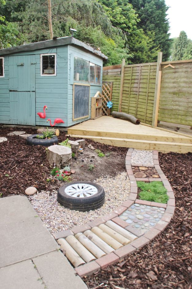 DIY Walkways - DIY Barefoot Sensory Path - Do It Yourself Walkway Ideas for Paths to The Front Door and Backyard - Cheap and Easy Pavers and Concrete Path and Stepping Stones - Wood and Edging, Lights, Backyard and Patio Walks With Gravel, Sand, Dirt and Brick http://diyjoy.com/diy-walkways
