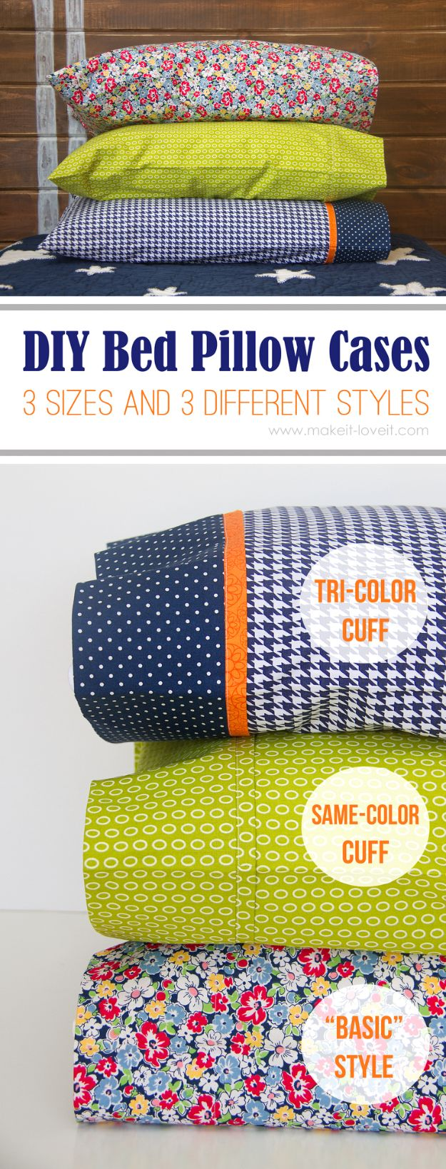 DIY Sewing Projects for the Home - DIY Bed Pillow Cases - Easy DIY Christmas Gifts and Ideas for Making Kitchen, Bedroom and Bathroom Decor - Free Step by Step Tutorial to Sew