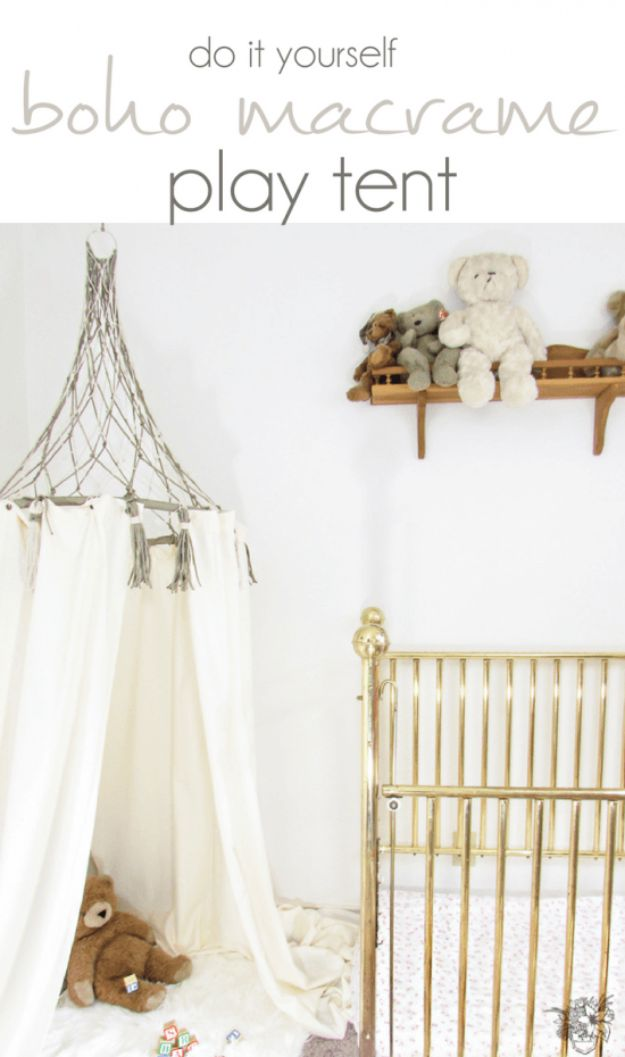 DIY Boho Decor Ideas - DIY Boho Macrame Play Tent - DIY Bedroom Ideas - Cheap Hippie Crafts and Bohemian Wall Art - Easy Upcycling Projects for Living Room, Bathroom, Kitchen #boho #diy #diydecor