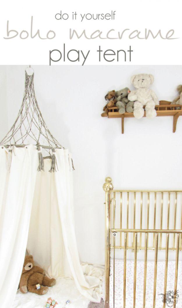 DIY Boho Decor Ideas - DIY Boho Macrame Play Tent - DIY Bedroom Ideas - Cheap Hippie Crafts and Bohemian Wall Art - Easy Upcycling Projects for Living Room, Bathroom, Kitchen #boho #diy #diydecor