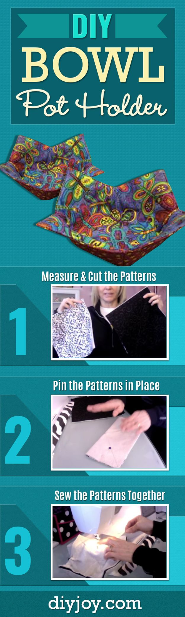 DIY Sewing Projects for the Home - DIY Bowl Pot Holder - Easy DIY Christmas Gifts and Ideas for Making Kitchen, Bedroom and Bathroom Decor - Free Step by Step Tutorial to Sew