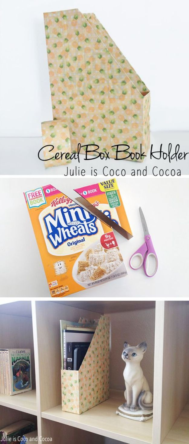 Cool DIY Ideas With Cereal Boxes - DIY Cereal Box Book Holder - Easy Organizing Ideas, Cute Kids Crafts and Creative Ways to Make Things Out of A Cereal Box - Cheap Gifts, DIY School Supplies and Storage Ideas http://diyjoy.com/diy-ideas-cereal-boxes