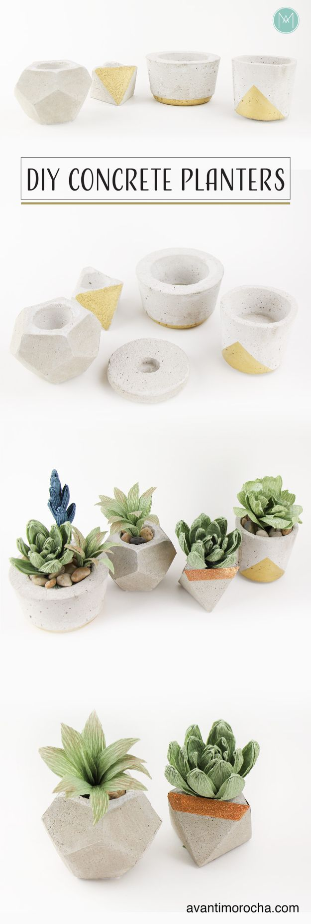 DIY Projects With Concrete - DIY Concrete Planters - Easy Home Decor and Cheap Crafts Made With Cement - Ideas for DIY Christmas Gifts, Outdoor Decorations