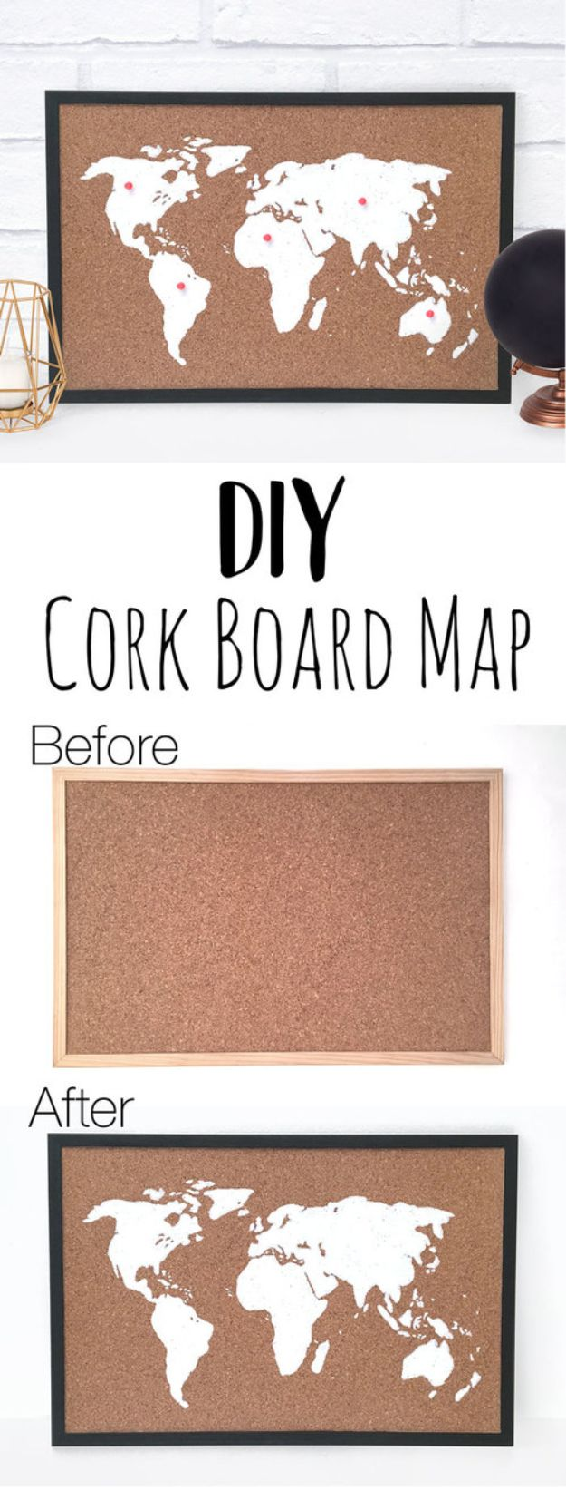 DIY Ideas With Maps - DIY Cork Board Map - Easy Crafts, Home Decor, Art and Gifts Your Can Make With A Map - Pinboard, Canvas, Painting, Paper Flowers, Signs Projects