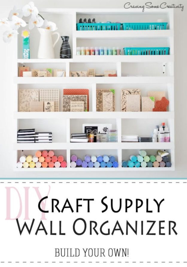 Craft Room Organization Ideas - DIY Craft Supply Wall Organizer - DIY Dollar Store Projects for Crafts - Budget Ways to Declutter While Organizing Supplies - Shelves, IKEA Hacks, Small Space Ideas