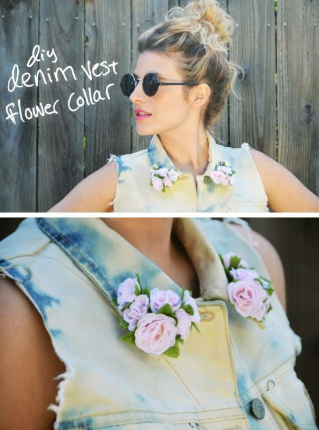 DIY Ideas With Faux Flowers - DIY Denim Vest Flower Collar - Paper, Fabric, Silk and Plastic Flower Crafts - Easy Arrangements, Wedding Decorations, Wall, Decorations, Letters, Cheap Home Decor