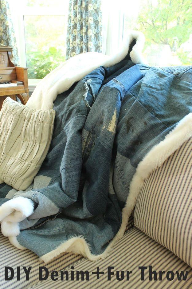 DIY Throw Blankets - DIY Denim and Faux Fur Throw Blanket - How to Make Easy Throws and Blanket - Fleece Fabrics, No Sew Tutorial, Crochet, Boho, Fur, Cotton, Flannel Ideas #diyideas #diydecor #diy