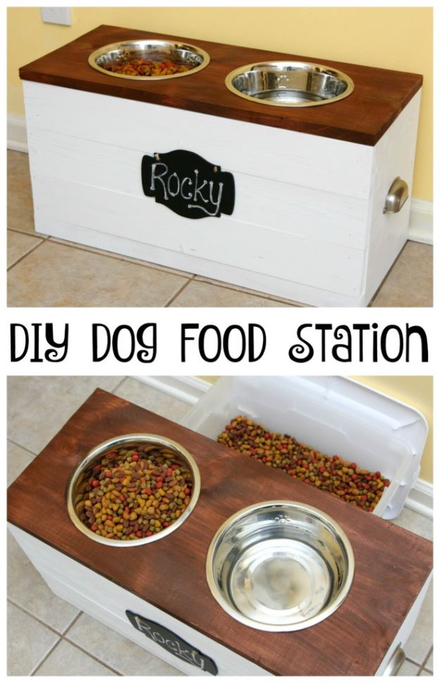 DIY Pet Bowls And Feeding Stations - DIY Dog Food Station With Storage - Easy Ideas for Serving Dog and Cat Food, Ways to Raise and Store Bowls - Organize Your Dog Food and Water Bowl With These Cute and Creative Ideas for Dogs and Cats- Monogram, Painted, Personalized and Rustic Crafts and Projects http://diyjoy.com/diy-pet-bowls-feeding-station