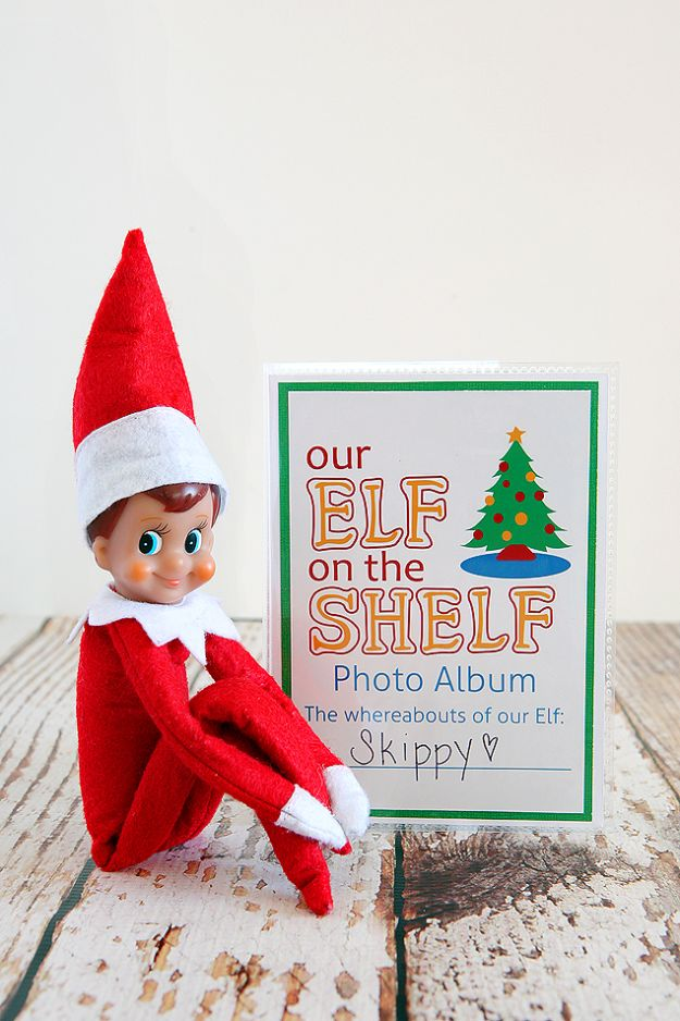DIY Photo Albums - DIY Elf On The Shelf Photo Album - Easy DIY Christmas Gifts for Grandparents, Friends, Him or Her, Mom and Dad - Creative Ideas for Making Wall Art and Home Decor With Photos