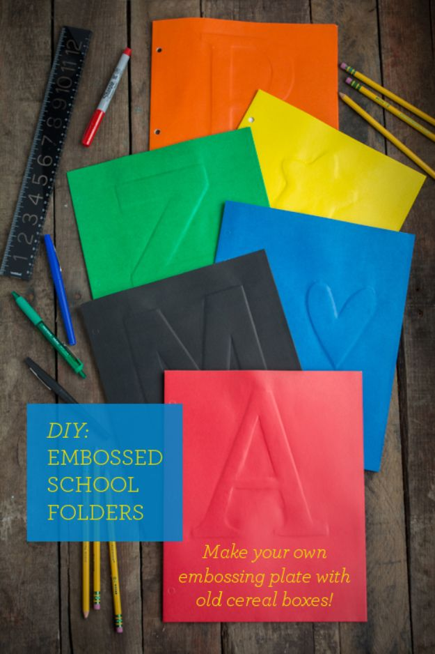 Cool DIY Ideas With Cereal Boxes - DIY Embossed School Folders - Easy Organizing Ideas, Cute Kids Crafts and Creative Ways to Make Things Out of A Cereal Box - Cheap Gifts, DIY School Supplies and Storage Ideas http://diyjoy.com/diy-ideas-cereal-boxes