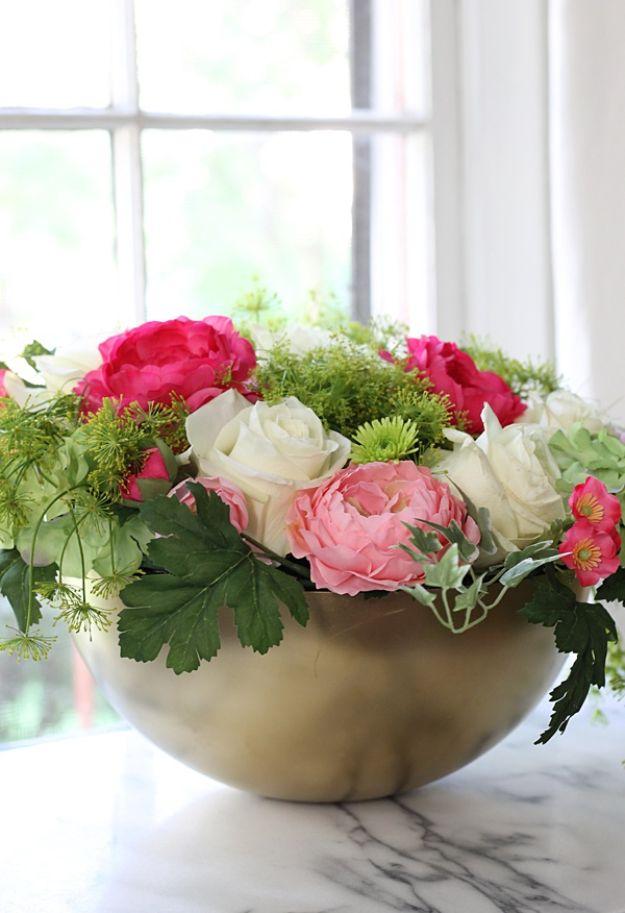 DIY Ideas With Faux Flowers - DIY Faux Flower Arrangement - Paper, Fabric, Silk and Plastic Flower Crafts - Easy Arrangements, Wedding Decorations, Wall, Decorations, Letters, Cheap Home Decor