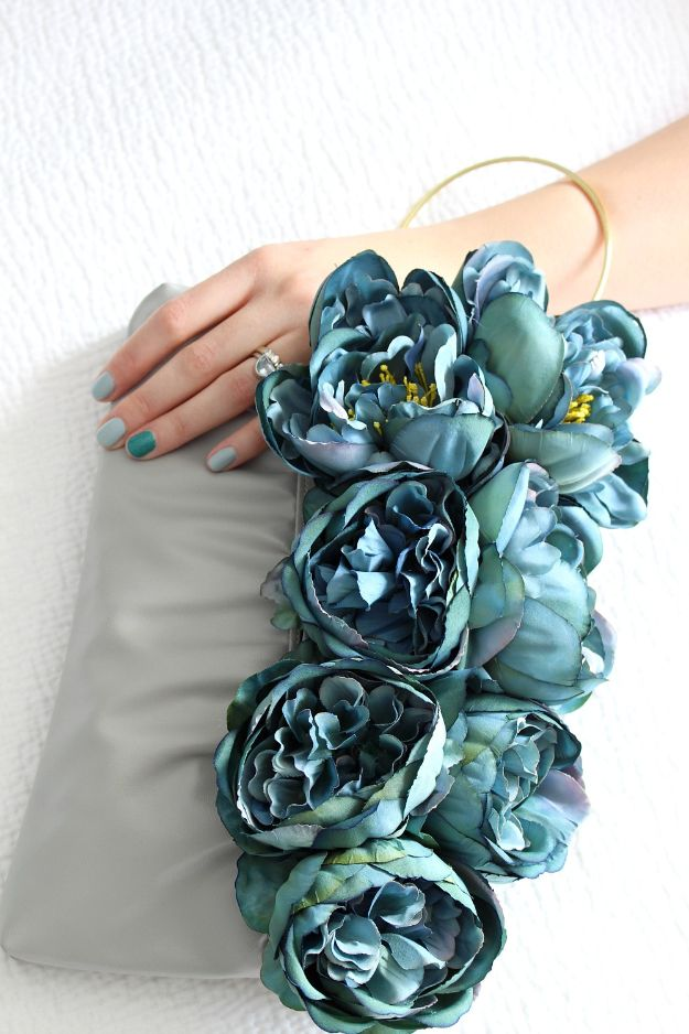 DIY Ideas With Faux Flowers - DIY Faux Flower Clutch - Paper, Fabric, Silk and Plastic Flower Crafts - Easy Arrangements, Wedding Decorations, Wall, Decorations, Letters, Cheap Home Decor