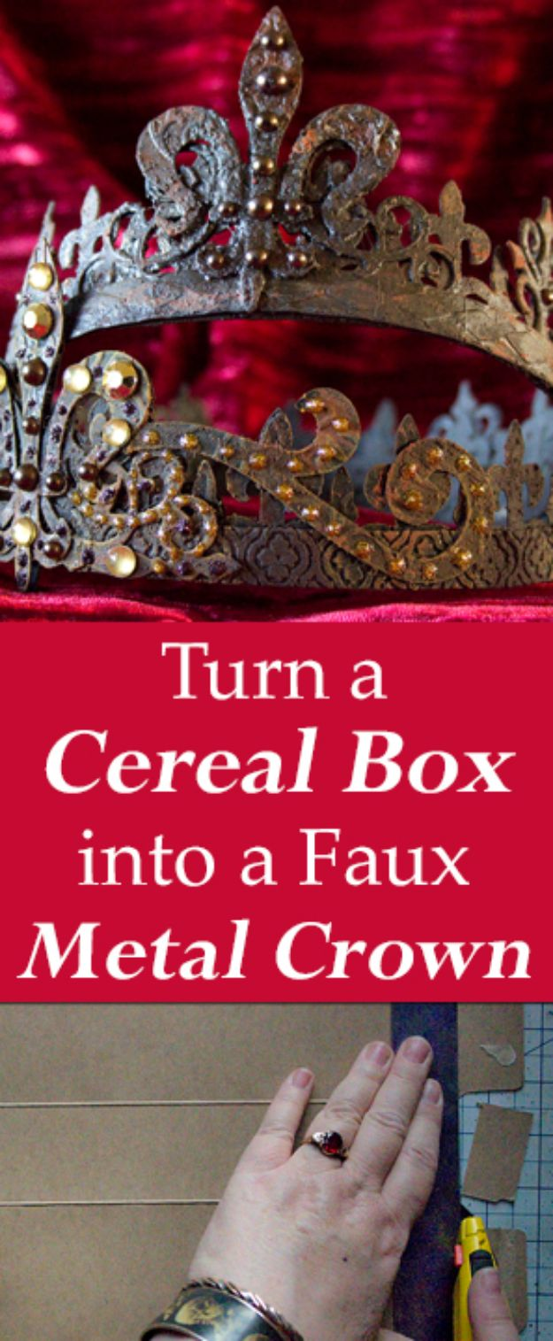 Cool DIY Ideas With Cereal Boxes - DIY Faux Metal Crown - Easy Organizing Ideas, Cute Kids Crafts and Creative Ways to Make Things Out of A Cereal Box - Cheap Gifts, DIY School Supplies and Storage Ideas http://diyjoy.com/diy-ideas-cereal-boxes
