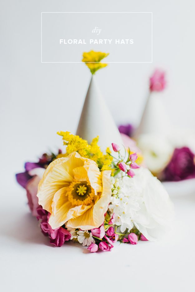 DIY Floral Party HatsDIY Ideas With Faux Flowers - DIY Floral Party Hats - Paper, Fabric, Silk and Plastic Flower Crafts - Easy Arrangements, Wedding Decorations, Wall, Decorations, Letters, Cheap Home Decor