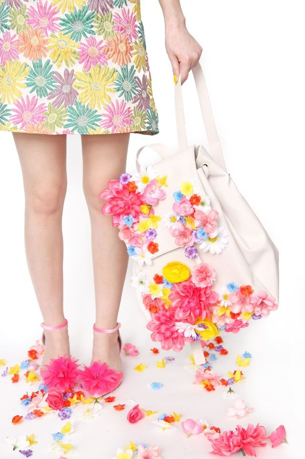 DIY Ideas With Faux Flowers - DIY Flower Covered Backpack - Paper, Fabric, Silk and Plastic Flower Crafts - Easy Arrangements, Wedding Decorations, Wall, Decorations, Letters, Cheap Home Decor