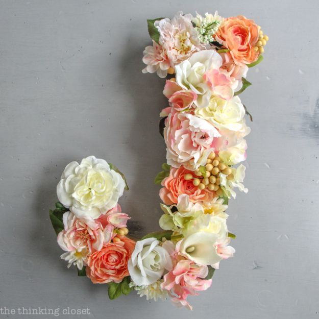 DIY Ideas With Faux Flowers - DIY Flower Monogram Letter - Paper, Fabric, Silk and Plastic Flower Crafts - Easy Arrangements, Wedding Decorations, Wall, Decorations, Letters, Cheap Home Decor