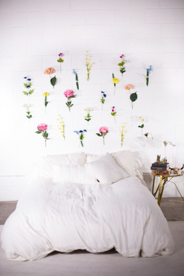 DIY Ideas With Faux Flowers - DIY Flower Wall - Paper, Fabric, Silk and Plastic Flower Crafts - Easy Arrangements, Wedding Decorations, Wall, Decorations, Letters, Cheap Home Decor