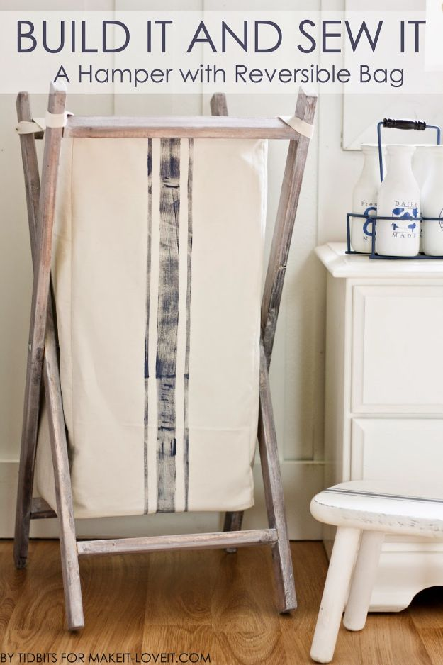 DIY Sewing Projects for the Home - DIY Foldable Wood Hamper - Easy DIY Christmas Gifts and Ideas for Making Kitchen, Bedroom and Bathroom Decor - Free Step by Step Tutorial to Sew