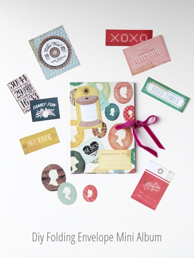 DIY Photo Albums - DIY Folding Envelope Mini Album - Easy DIY Christmas Gifts for Grandparents, Friends, Him or Her, Mom and Dad - Creative Ideas for Making Wall Art and Home Decor With Photos