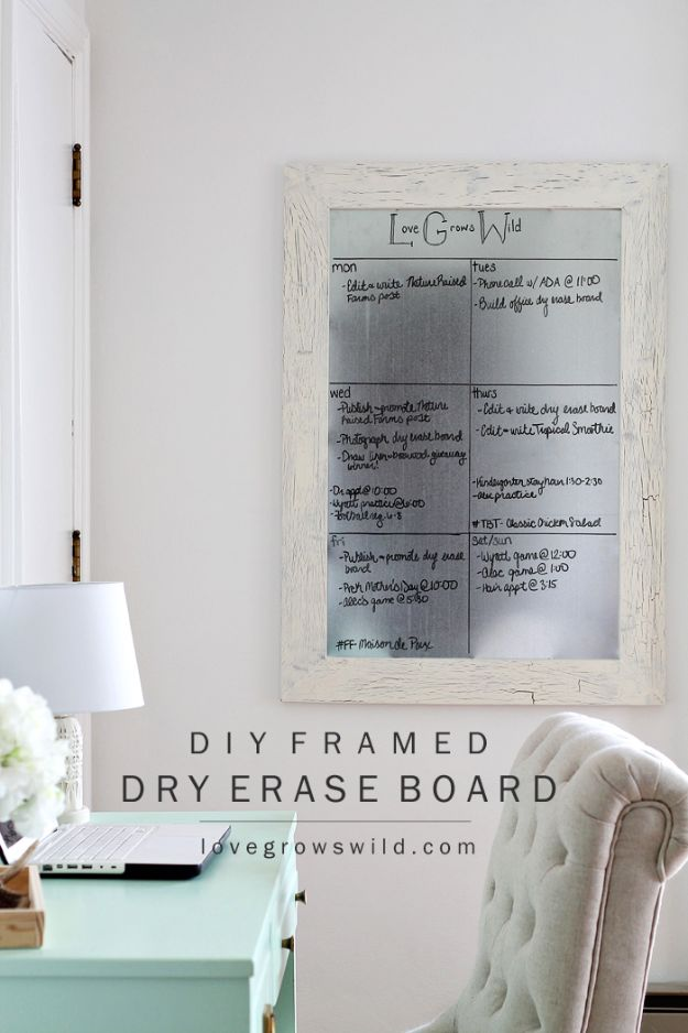 Craft Room Organization Ideas - DIY Framed Dry Erase Board - DIY Dollar Store Projects for Crafts - Budget Ways to Declutter While Organizing Supplies - Shelves, IKEA Hacks, Small Space Ideas