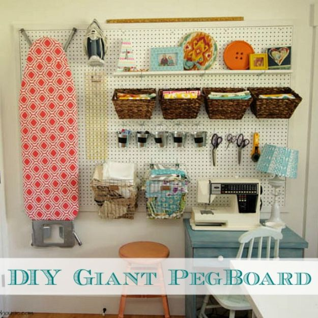 Craft Room Organization Ideas - DIY Giant Pegboard Wall - DIY Dollar Store Projects for Crafts - Budget Ways to Declutter While Organizing Supplies - Shelves, IKEA Hacks, Small Space Ideas
