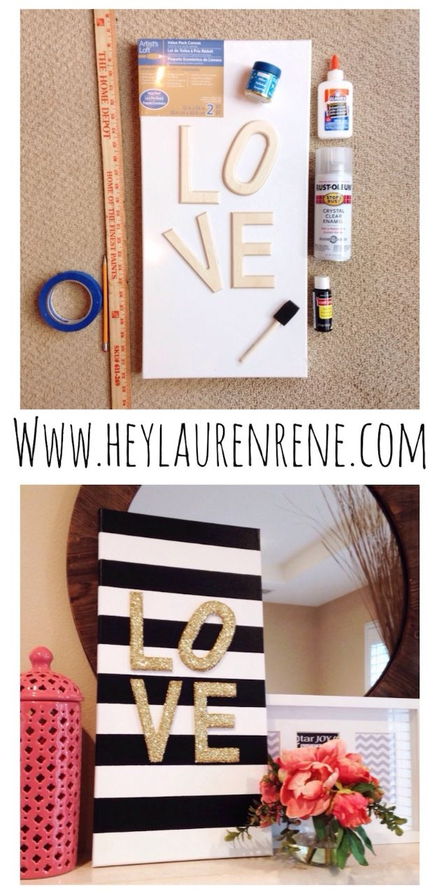 DIY Home Decor Projects for Beginners - DIY Glitter Love Canvas - Easy Homemade Decoration for Your House or Apartment - Creative Wall Art, Rugs, Furniture and Accessories for Kitchen - Quick and Cheap Ways to Decorate on A Budget - Farmhouse, Rustic, Modern, Boho and Minimalist Style With Step by Step Tutorials http://diyjoy.com/diy-home-decor-beginners