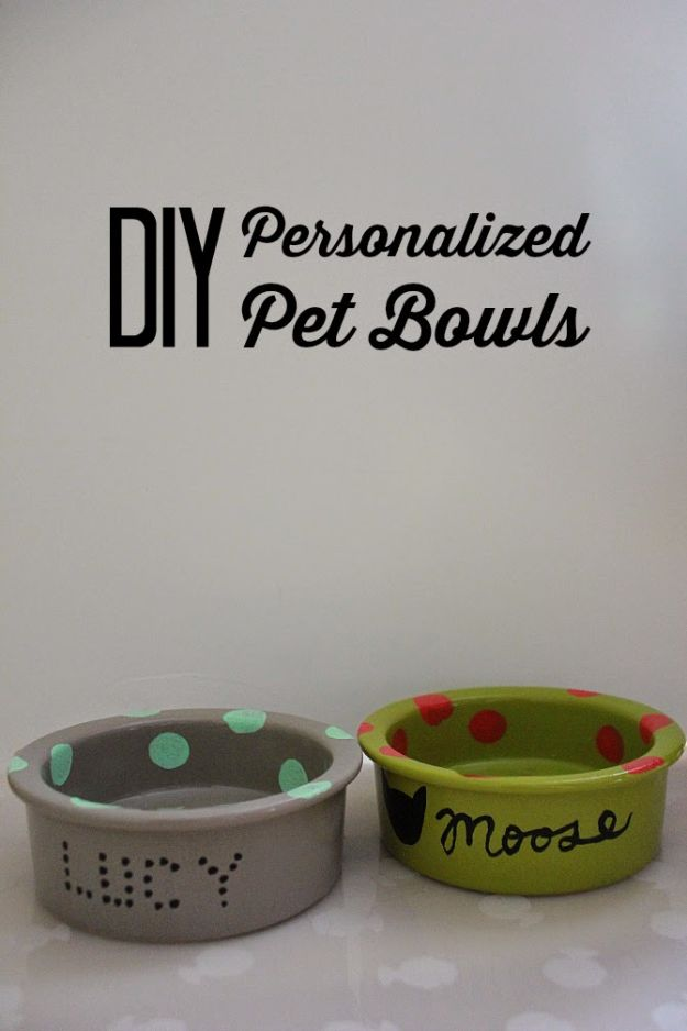 DIY Pet Bowls And Feeding Stations - DIY Handpainted Pet Bowl - Easy Ideas for Serving Dog and Cat Food, Ways to Raise and Store Bowls - Organize Your Dog Food and Water Bowl With These Cute and Creative Ideas for Dogs and Cats- Monogram, Painted, Personalized and Rustic Crafts and Projects http://diyjoy.com/diy-pet-bowls-feeding-station