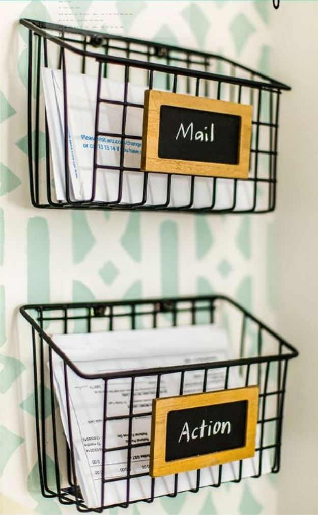 Dollar Store Organizing Ideas - DIY Industrial Wire Mail Baskets - Easy Organization Projects from Dollar Tree and Dollar Stores - Quick Closet Makeovers, Pantry Storage, Shoe Box Projects, Tension Rods, Car and Household Cleaning - Hacks and Tips for Organizing on a Budget - Cheap Idea for Reducing Clutter around the House, in the Kitchen and Bedroom http://diyjoy.com/dollar-store-organizing-ideas