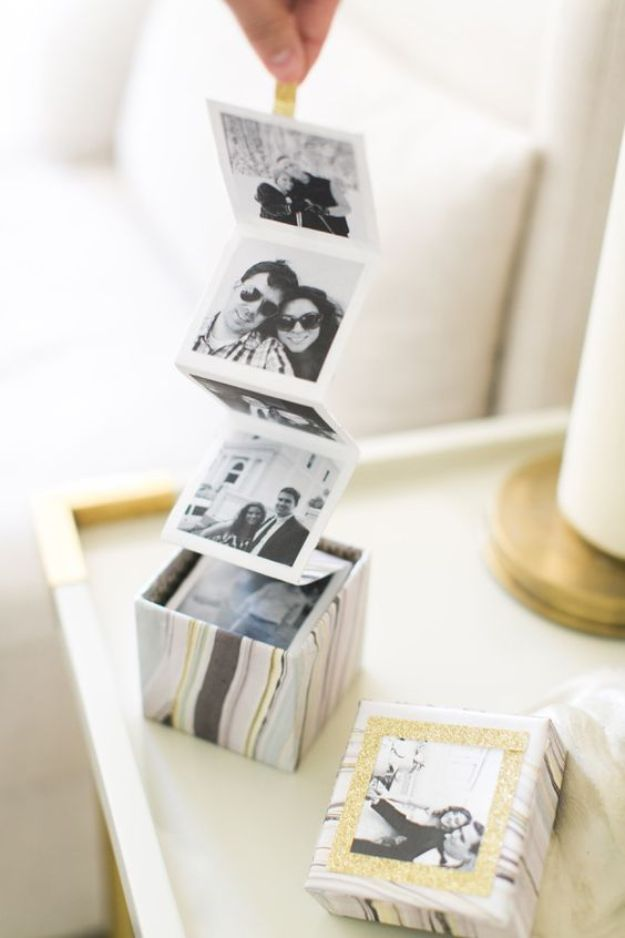 DIY Photo Albums - DIY Instagram Photo Box - Easy DIY Christmas Gifts for Grandparents, Friends, Him or Her, Mom and Dad - Creative Ideas for Making Wall Art and Home Decor With Photos