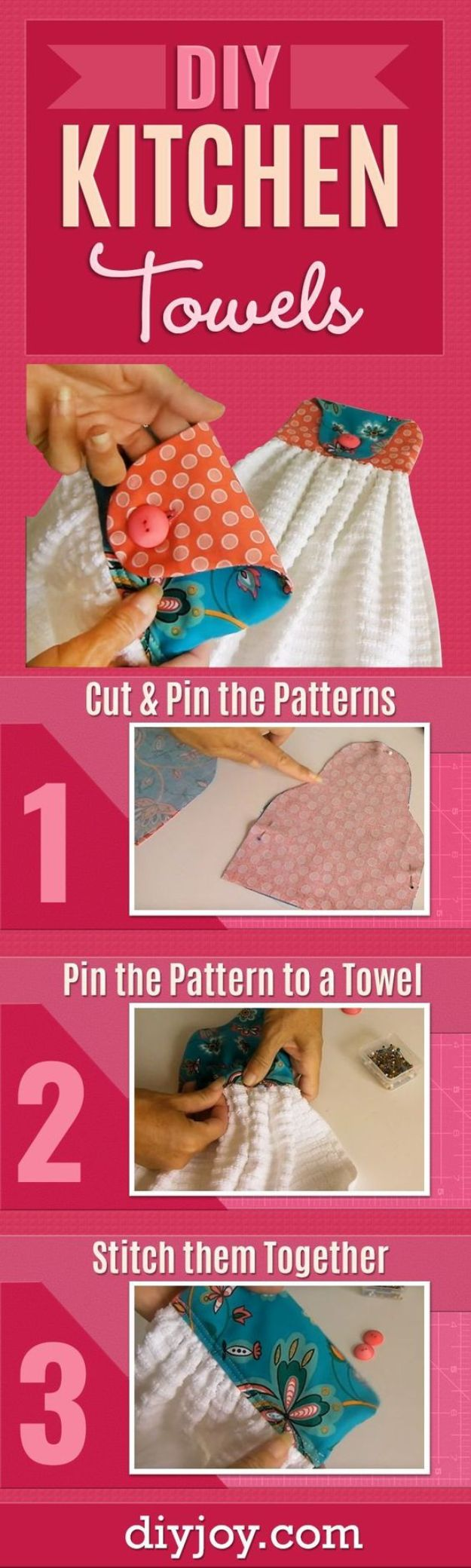 DIY Sewing Projects for the Home - DIY Kitchen Towels - Easy DIY Christmas Gifts and Ideas for Making Kitchen, Bedroom and Bathroom Decor - Free Step by Step Tutorial to Sew