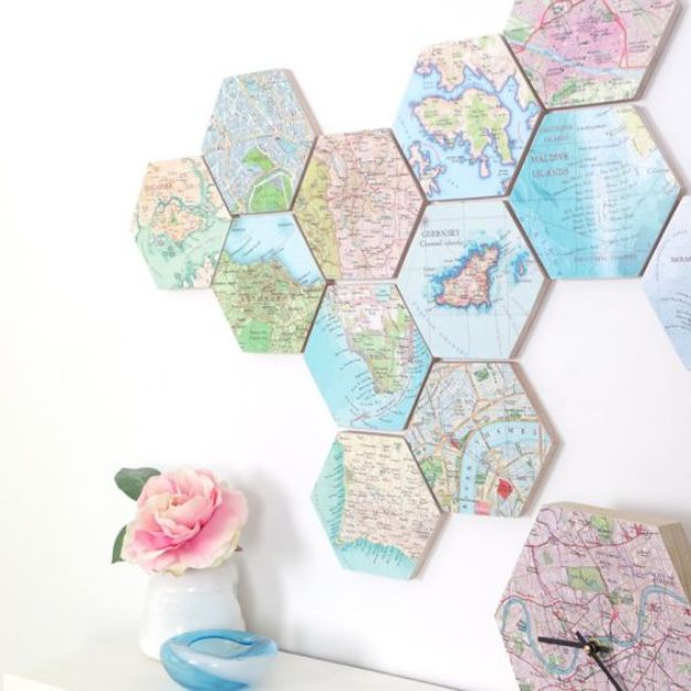 DIY Ideas With Maps - DIY Map Art - Easy Crafts, Home Decor, Art and Gifts Your Can Make With A Map - Pinboard, Canvas, Painting, Paper Flowers, Signs Projects