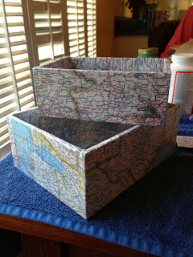 DIY Ideas With Maps - DIY Map Boxes - Easy Crafts, Home Decor, Art and Gifts Your Can Make With A Map - Pinboard, Canvas, Painting, Paper Flowers, Signs Projects