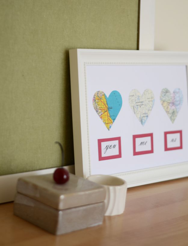 DIY Ideas With Maps - DIY Map Hearts - Easy Crafts, Home Decor, Art and Gifts Your Can Make With A Map - Pinboard, Canvas, Painting, Paper Flowers, Signs Projects