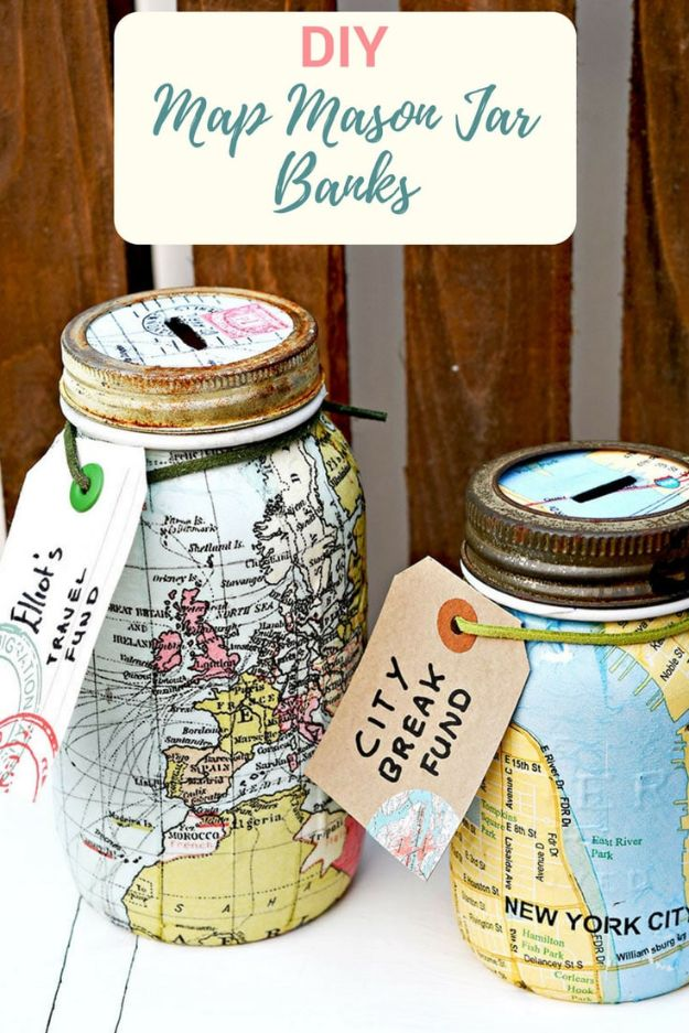 DIY Ideas With Maps - DIY Map Mason Jar Bank - Easy Crafts, Home Decor, Art and Gifts Your Can Make With A Map - Pinboard, Canvas, Painting, Paper Flowers, Signs Projects