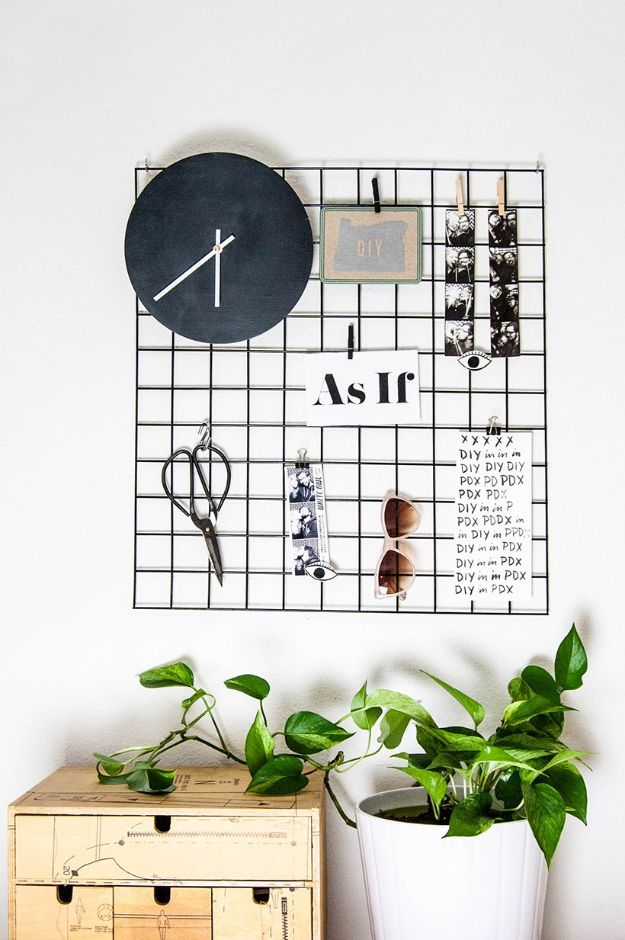 Craft Room Organization Ideas - DIY Metal Wall Grid - DIY Dollar Store Projects for Crafts - Budget Ways to Declutter While Organizing Supplies - Shelves, IKEA Hacks, Small Space Ideas