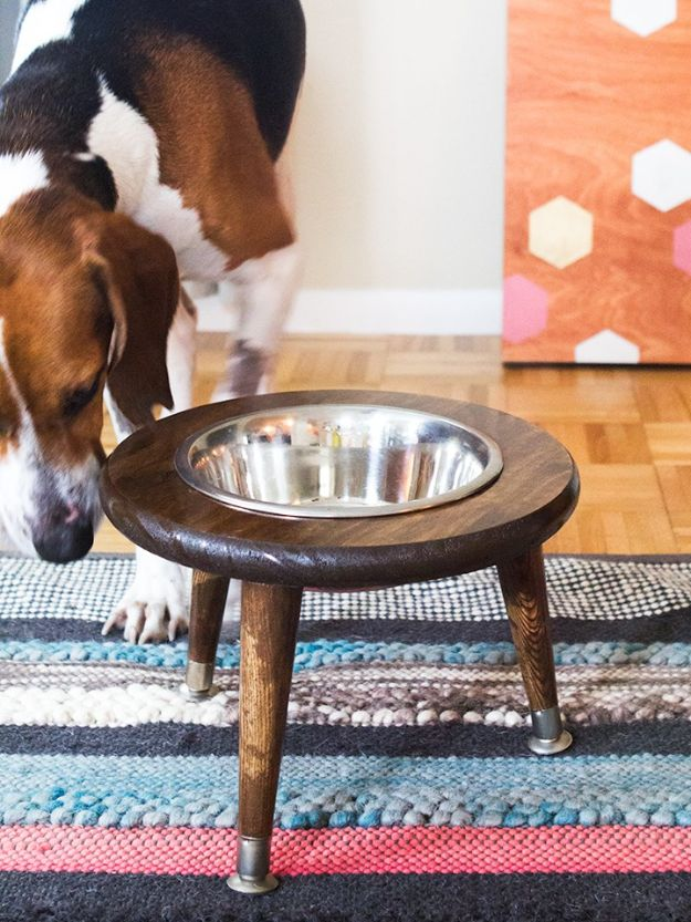 DIY Pet Bowls And Feeding Stations - DIY Mid- Century Dog Bowl Stand - Easy Ideas for Serving Dog and Cat Food, Ways to Raise and Store Bowls - Organize Your Dog Food and Water Bowl With These Cute and Creative Ideas for Dogs and Cats- Monogram, Painted, Personalized and Rustic Crafts and Projects http://diyjoy.com/diy-pet-bowls-feeding-station